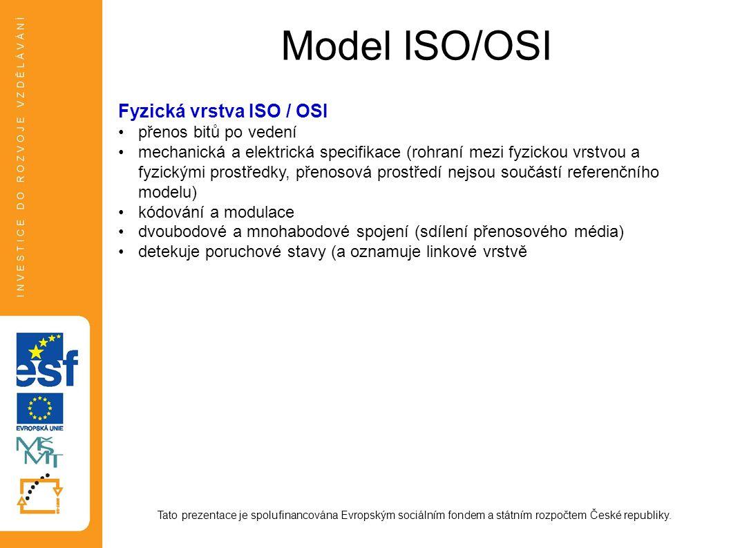 Model ISO/OSI Tato prezentace je spolufinancována Evropským sociálním fondem a státním rozpočtem České republiky. Fyzická vrstva ISO / OSI přenos bitů