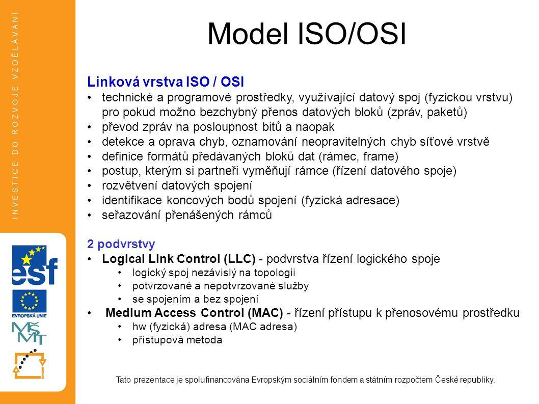 Model ISO/OSI Tato prezentace je spolufinancována Evropským sociálním fondem a státním rozpočtem České republiky. Linková vrstva ISO / OSI technické a