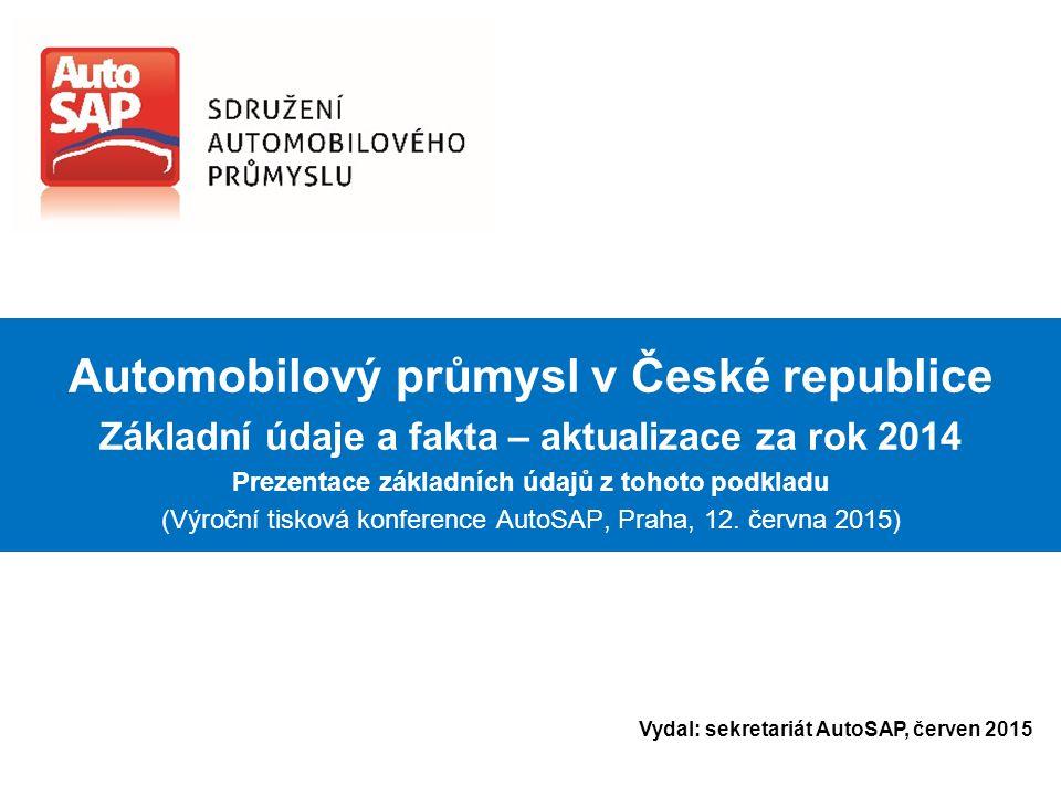 Automobilový průmysl v České republice Základní údaje a fakta – aktualizace za rok 2014 Prezentace základních údajů z tohoto podkladu (Výroční tisková konference AutoSAP, Praha, 12.