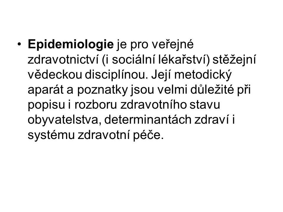 Epidemiologie je pro veřejné zdravotnictví (i sociální lékařství) stěžejní vědeckou disciplínou. Její metodický aparát a poznatky jsou velmi důležité