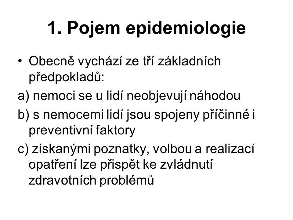 1. Pojem epidemiologie Obecně vychází ze tří základních předpokladů: a) nemoci se u lidí neobjevují náhodou b) s nemocemi lidí jsou spojeny příčinné i