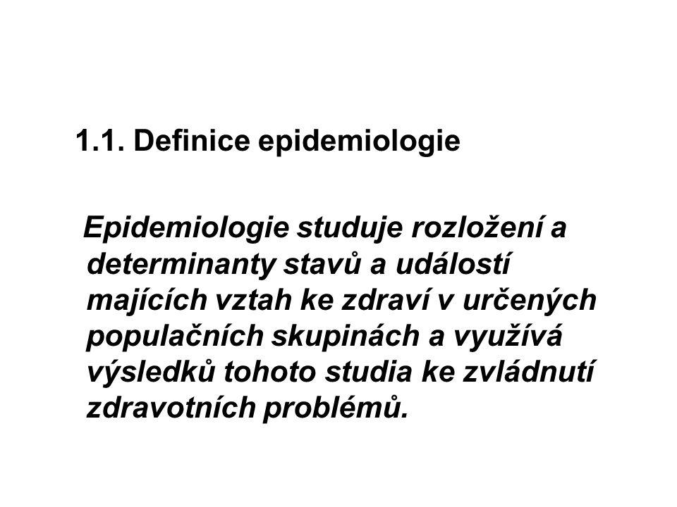 1.1. Definice epidemiologie Epidemiologie studuje rozložení a determinanty stavů a událostí majících vztah ke zdraví v určených populačních skupinách