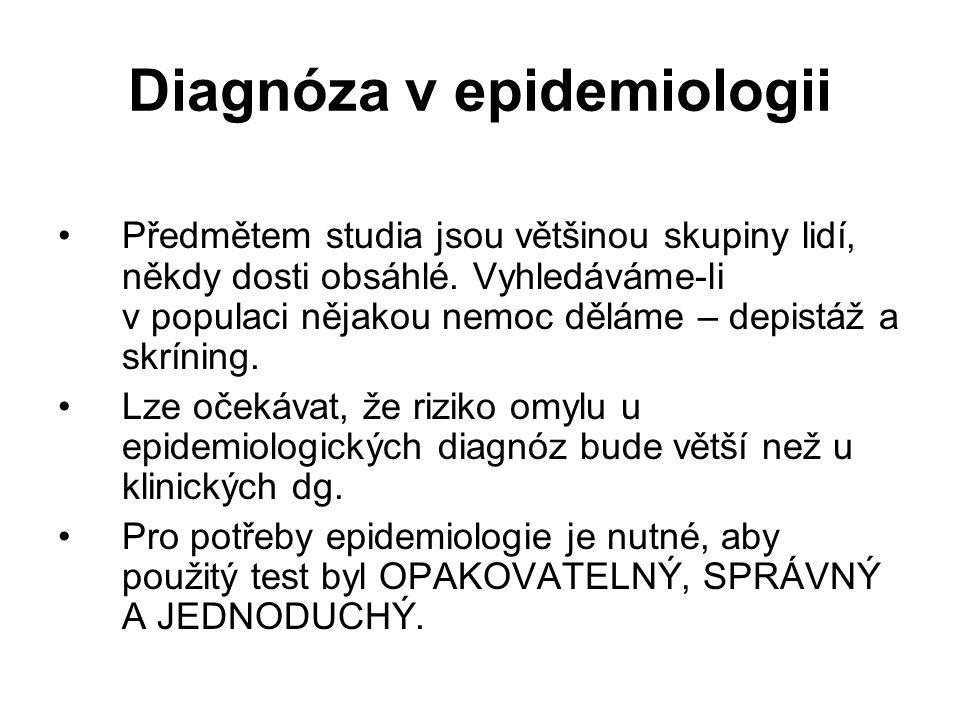 Diagnóza v epidemiologii Předmětem studia jsou většinou skupiny lidí, někdy dosti obsáhlé. Vyhledáváme-li v populaci nějakou nemoc děláme – depistáž a