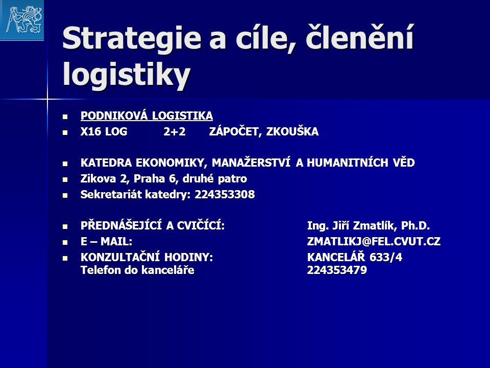 Strategie a cíle, členění logistiky PODNIKOVÁ LOGISTIKA X16 LOG 2+2ZÁPOČET, ZKOUŠKA KATEDRA EKONOMIKY, MANAŽERSTVÍ A HUMANITNÍCH VĚD Zikova 2, Praha 6, druhé patro Sekretariát katedry: 224353308 PŘEDNÁŠEJÍCÍ A CVIČÍCÍ:Ing.