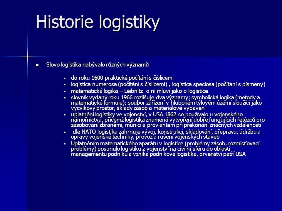 Logistika pomáhá řešit následující problémy:  řízení materiálového toku  dlouhé dodací termíny  vysoké stavy zásob organizacích  nízká úroveň služeb  budování informačních toků