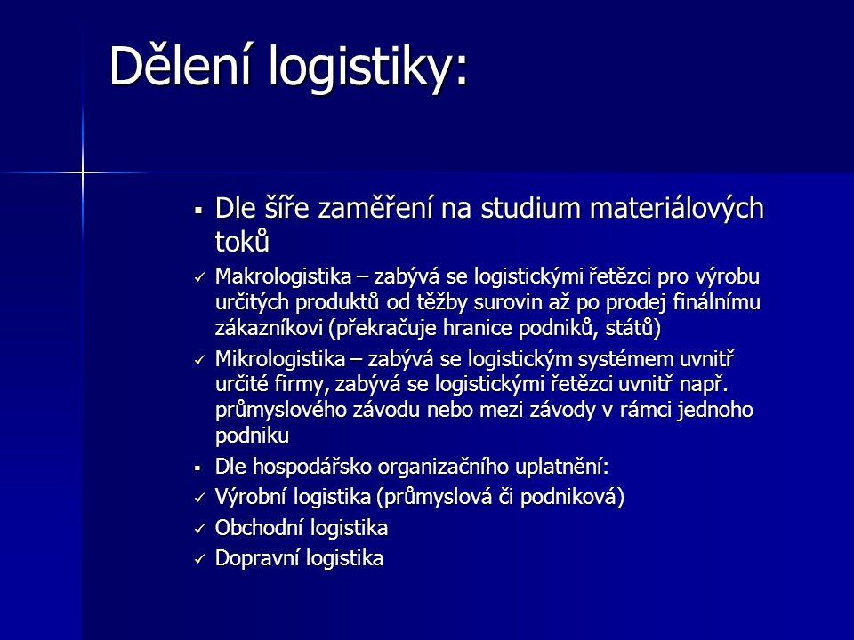 Cíle logistického systému  Nejdůležitější cíle jsou vnější cíle a výkonové cíle.  Sekundární cíle jsou vnitřní a ekonomické cíle  Vnější cíle logis