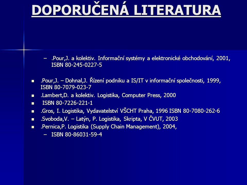 ZÁKLADNÍ LITERATURA.Sixta, J. – Mačát, V.: LOGISTIKA – teorie a praxe, Brno, 2005, Praxe manažera.Sixta, J. – Mačát, V.: LOGISTIKA – teorie a praxe, B