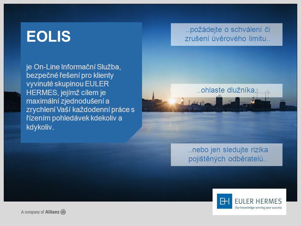 je On-Line Informační Služba, bezpečné řešení pro klienty vyvinuté skupinou EULER HERMES, jejímž cílem je maximální zjednodušení a zrychlení Vaší každ