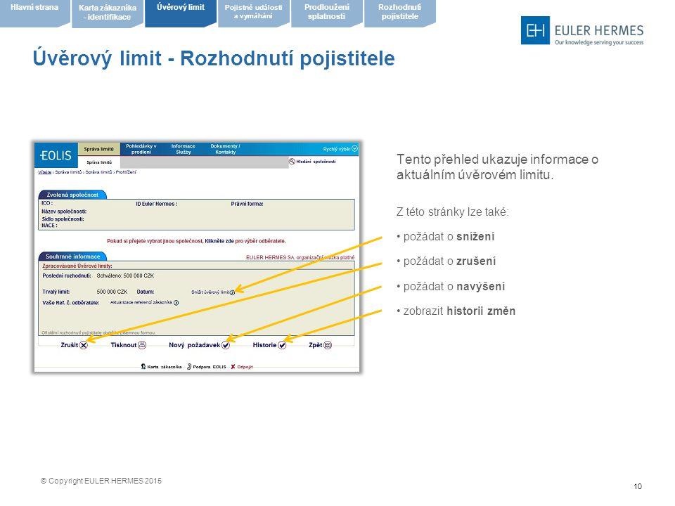 10 Úvěrový limit - Rozhodnutí pojistitele Tento přehled ukazuje informace o aktuálním úvěrovém limitu. Z této stránky lze také: požádat o snížení požá