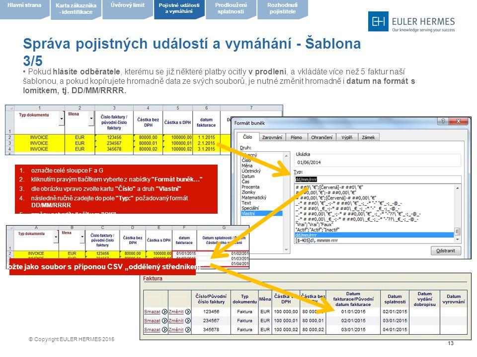 13 Správa pojistných událostí a vymáhání - Šablona 3/5 Pojistné události a vymáhání Úvěrový limit Karta zákazníka - identifikace Hlavní stranaProdlouž