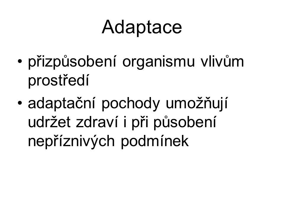 Adaptace přizpůsobení organismu vlivům prostředí adaptační pochody umožňují udržet zdraví i při působení nepříznivých podmínek