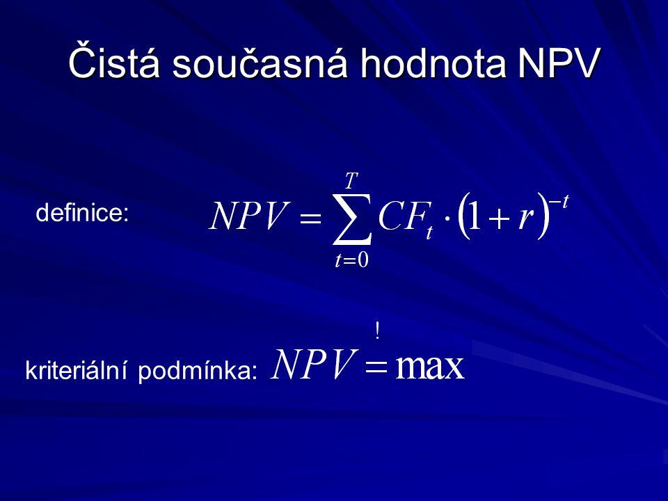 Čistá současná hodnota NPV definice: kriteriální podmínka: