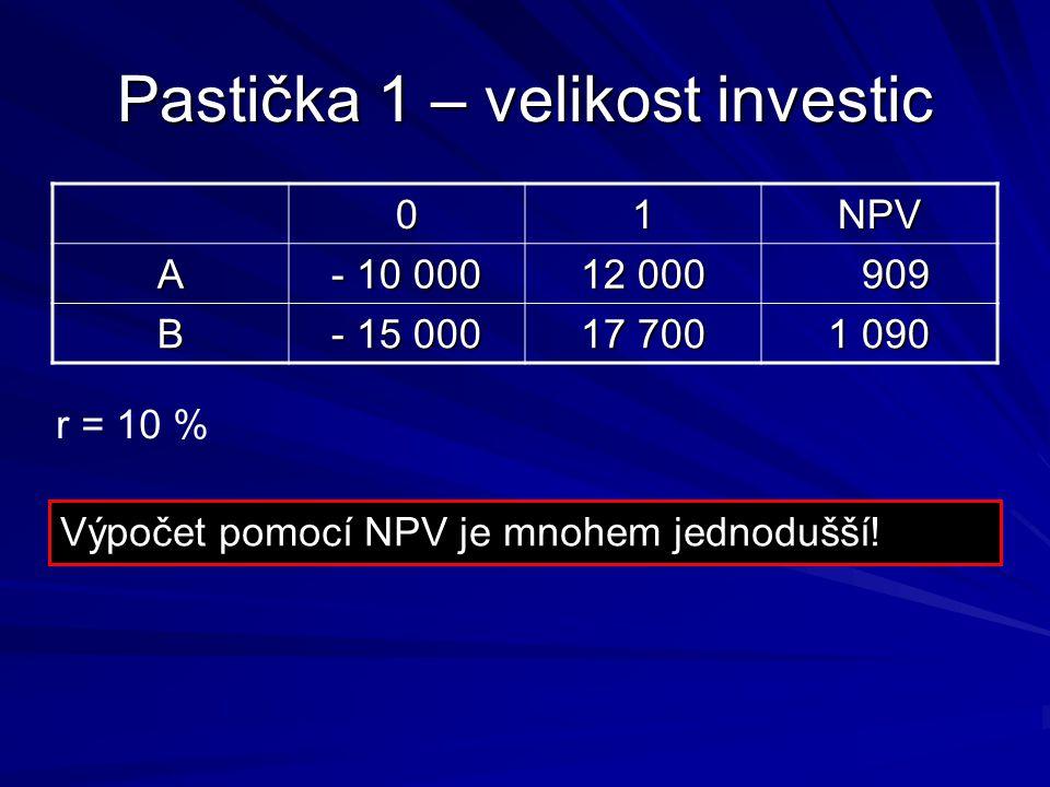 Pastička 1 – velikost investic 01NPV A - 10 000 12 000 909 909 B - 15 000 17 700 1 090 r = 10 % Výpočet pomocí NPV je mnohem jednodušší!