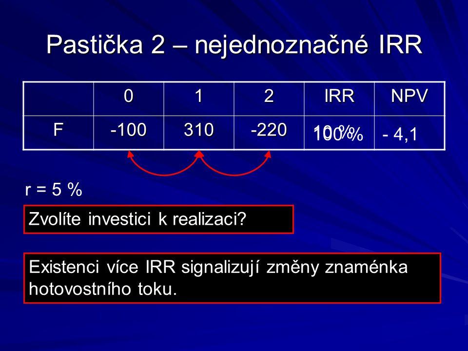Pastička 2 – nejednoznačné IRR 012IRRNPV F-100310-220 10 % 100 % r = 5 % - 4,1 Zvolíte investici k realizaci.