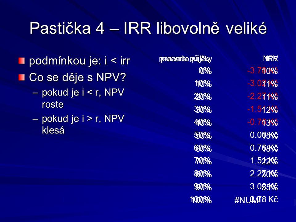Pastička 4 – IRR libovolně veliké podmínkou je: i < irr Co se děje s NPV.