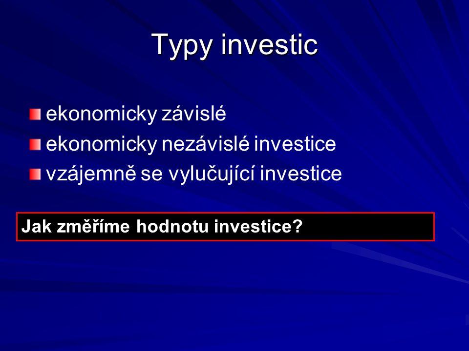 Typy investic ekonomicky závislé ekonomicky nezávislé investice vzájemně se vylučující investice Jak změříme hodnotu investice?