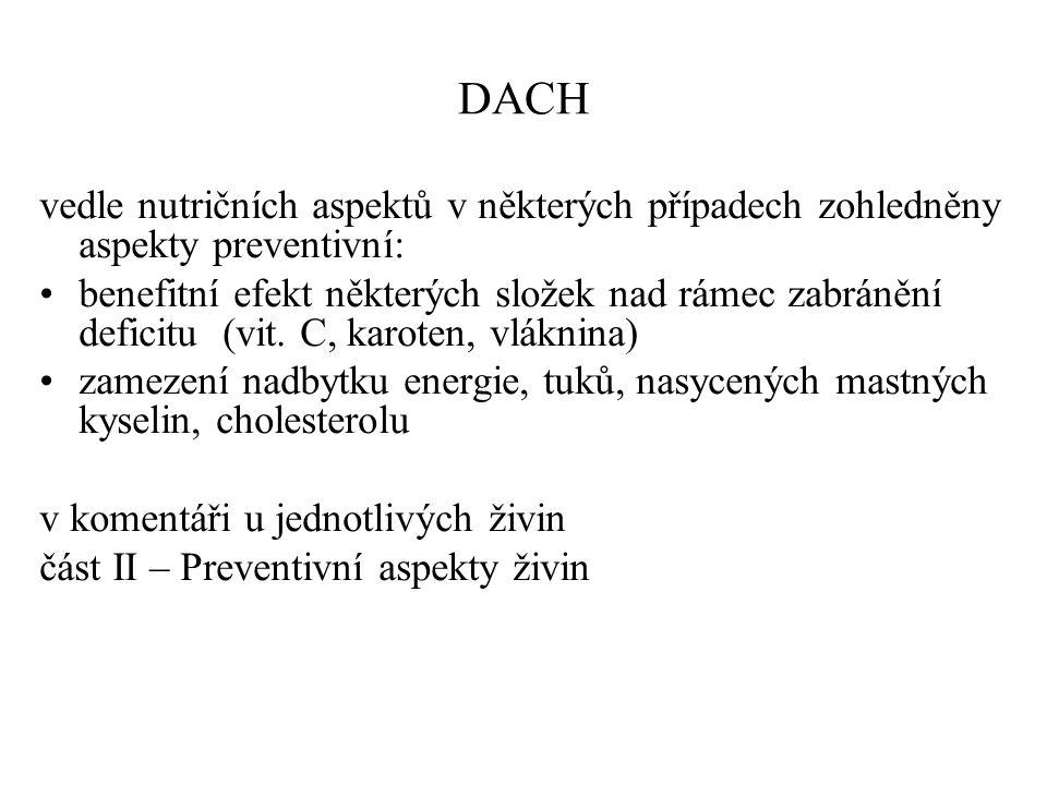 DACH vedle nutričních aspektů v některých případech zohledněny aspekty preventivní: benefitní efekt některých složek nad rámec zabránění deficitu (vit