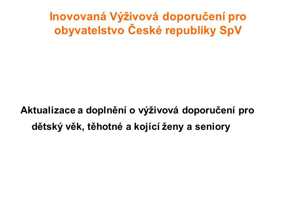 Inovovaná Výživová doporučení pro obyvatelstvo České republiky SpV Aktualizace a doplnění o výživová doporučení pro dětský věk, těhotné a kojící ženy