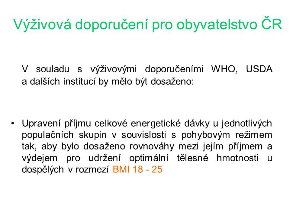 Výživová doporučení pro obyvatelstvo ČR V souladu s výživovými doporučeními WHO, USDA a dalších institucí by mělo být dosaženo: Upravení příjmu celkov