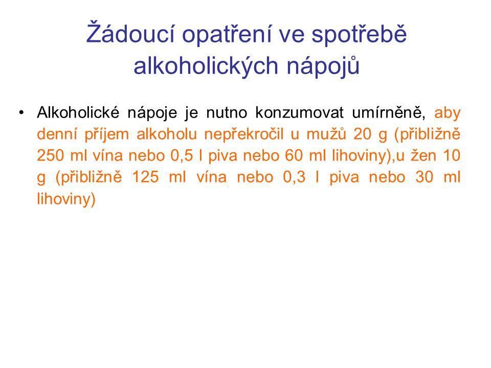 Žádoucí opatření ve spotřebě alkoholických nápojů Alkoholické nápoje je nutno konzumovat umírněně, aby denní příjem alkoholu nepřekročil u mužů 20 g (