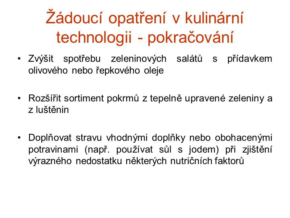 Žádoucí opatření v kulinární technologii - pokračování Zvýšit spotřebu zeleninových salátů s přídavkem olivového nebo řepkového oleje Rozšířit sortime