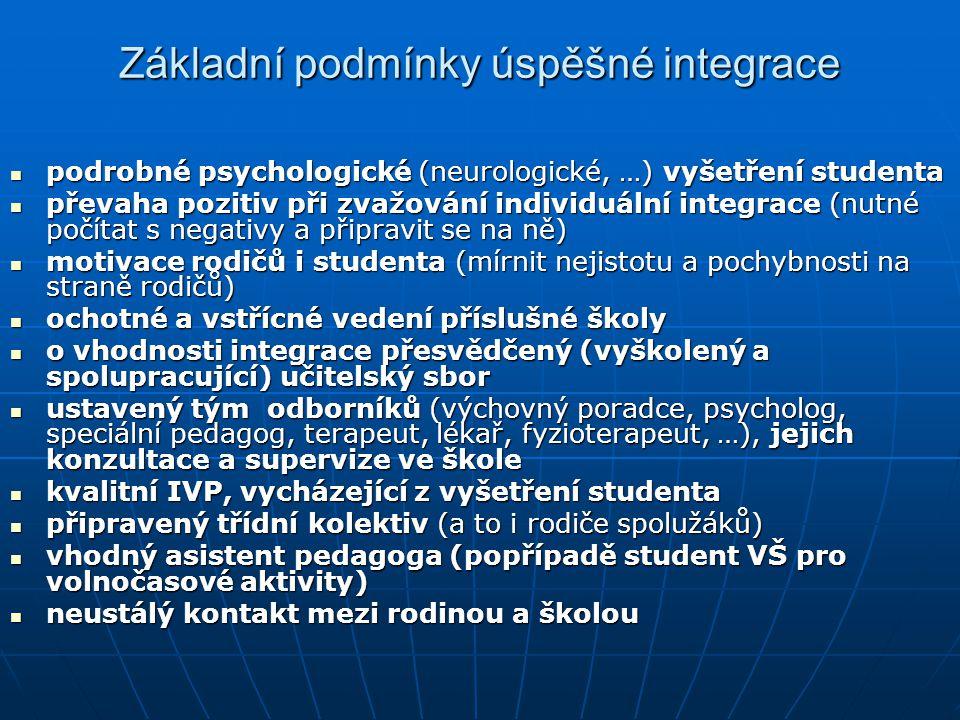 Základní podmínky úspěšné integrace podrobné psychologické (neurologické, …) vyšetření studenta podrobné psychologické (neurologické, …) vyšetření studenta převaha pozitiv při zvažování individuální integrace (nutné počítat s negativy a připravit se na ně) převaha pozitiv při zvažování individuální integrace (nutné počítat s negativy a připravit se na ně) motivace rodičů i studenta (mírnit nejistotu a pochybnosti na straně rodičů) motivace rodičů i studenta (mírnit nejistotu a pochybnosti na straně rodičů) ochotné a vstřícné vedení příslušné školy ochotné a vstřícné vedení příslušné školy o vhodnosti integrace přesvědčený (vyškolený a spolupracující) učitelský sbor o vhodnosti integrace přesvědčený (vyškolený a spolupracující) učitelský sbor ustavený tým odborníků (výchovný poradce, psycholog, speciální pedagog, terapeut, lékař, fyzioterapeut, …), jejich konzultace a supervize ve škole ustavený tým odborníků (výchovný poradce, psycholog, speciální pedagog, terapeut, lékař, fyzioterapeut, …), jejich konzultace a supervize ve škole kvalitní IVP, vycházející z vyšetření studenta kvalitní IVP, vycházející z vyšetření studenta připravený třídní kolektiv (a to i rodiče spolužáků) připravený třídní kolektiv (a to i rodiče spolužáků) vhodný asistent pedagoga (popřípadě student VŠ pro volnočasové aktivity) vhodný asistent pedagoga (popřípadě student VŠ pro volnočasové aktivity) neustálý kontakt mezi rodinou a školou neustálý kontakt mezi rodinou a školou