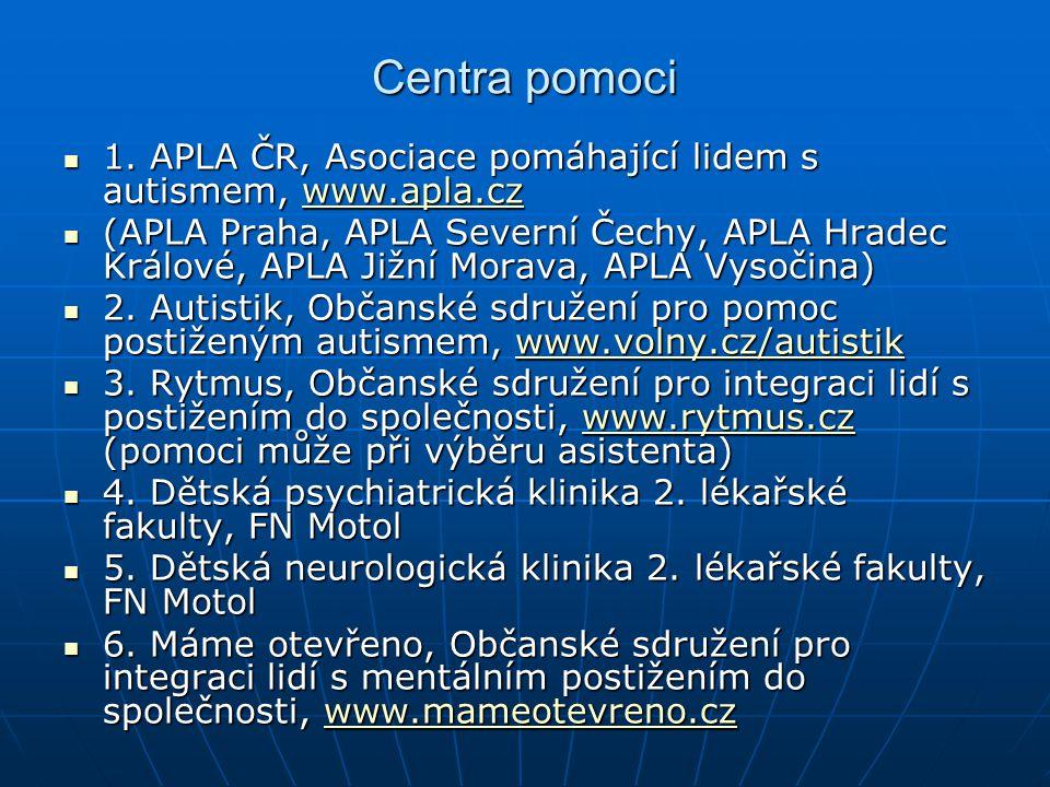 Centra pomoci 1.APLA ČR, Asociace pomáhající lidem s autismem, www.apla.cz 1.
