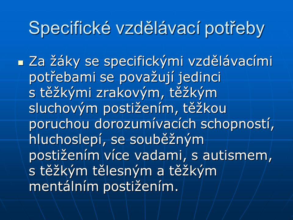 Legislativa Zákon č.561/2004 Sb., (školský zákon) Zákon č.