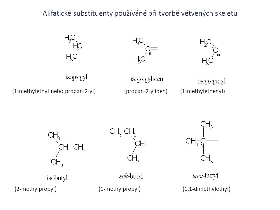 Alifatické substituenty používáné při tvorbě větvených skeletů (1-methylethyl nebo propan-2-yl)(propan-2-yliden)(1-methylethenyl) (2-methylpropyl) (1-
