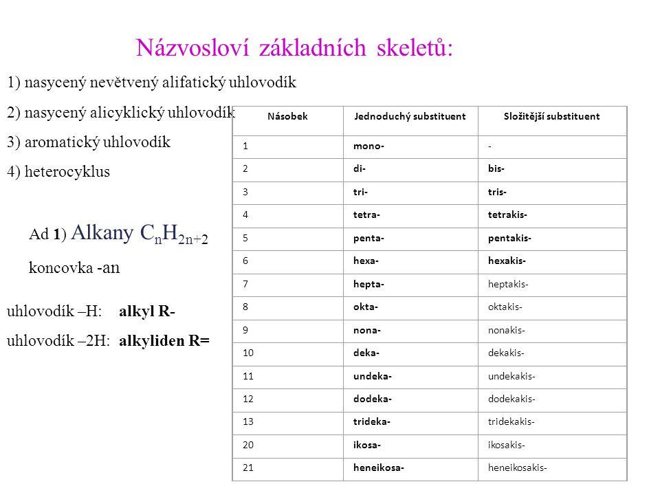 Názvosloví základních skeletů: 1) nasycený nevětvený alifatický uhlovodík 2) nasycený alicyklický uhlovodík 3) aromatický uhlovodík 4) heterocyklus Ad