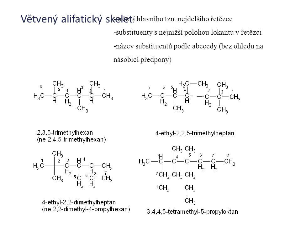 -určení hlavního tzn. nejdelšího řetězce -substituenty s nejnižší polohou lokantu v řetězci -název substituentů podle abecedy (bez ohledu na násobící