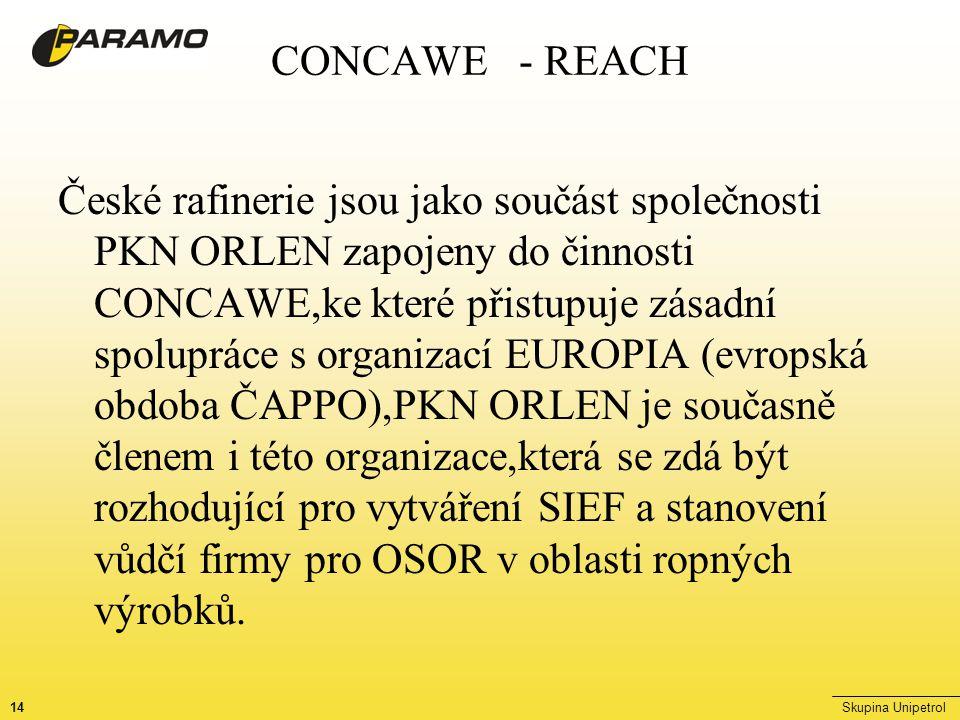14Skupina Unipetrol CONCAWE - REACH České rafinerie jsou jako součást společnosti PKN ORLEN zapojeny do činnosti CONCAWE,ke které přistupuje zásadní spolupráce s organizací EUROPIA (evropská obdoba ČAPPO),PKN ORLEN je současně členem i této organizace,která se zdá být rozhodující pro vytváření SIEF a stanovení vůdčí firmy pro OSOR v oblasti ropných výrobků.