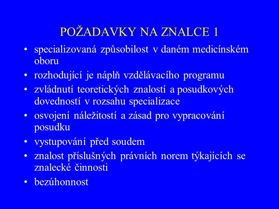 POŽADAVKY NA ZNALCE 1 specializovaná způsobilost v daném medicínském oboru rozhodující je náplň vzdělávacího programu zvládnutí teoretických znalostí