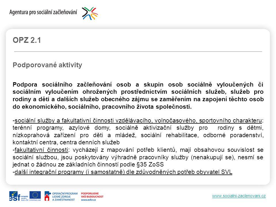 www.socialni-zaclenovani.cz OPZ 2.1 Podporované aktivity Podpora sociálního začleňování osob a skupin osob sociálně vyloučených či sociálním vyloučení