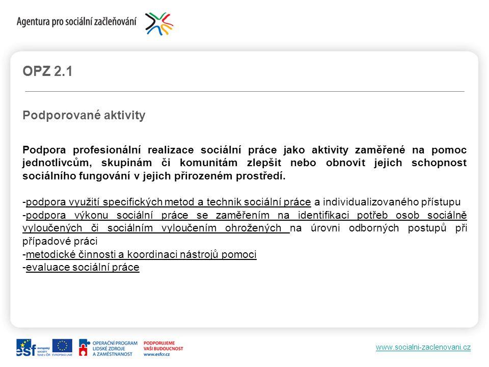 www.socialni-zaclenovani.cz OPZ 2.1 Podporované aktivity Podpora profesionální realizace sociální práce jako aktivity zaměřené na pomoc jednotlivcům,