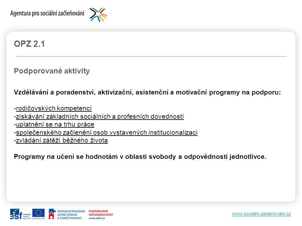 www.socialni-zaclenovani.cz OPZ 2.1 Podporované aktivity Vzdělávání a poradenství, aktivizační, asistenční a motivační programy na podporu: -rodičovsk