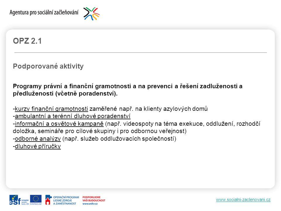 www.socialni-zaclenovani.cz OPZ 2.1 Podporované aktivity Programy právní a finanční gramotnosti a na prevenci a řešení zadluženosti a předluženosti (v