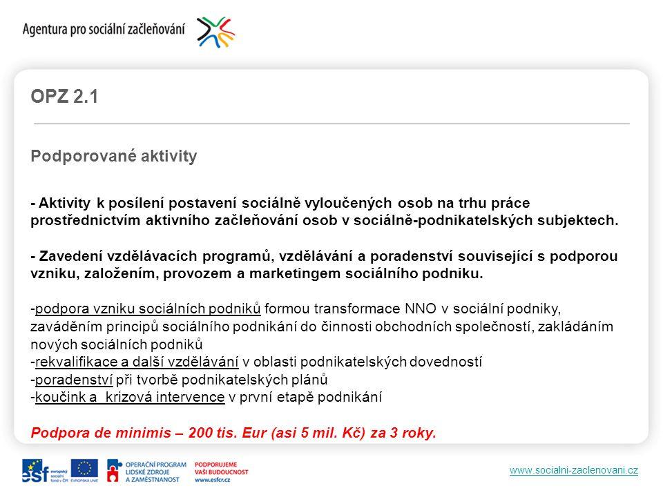 www.socialni-zaclenovani.cz OPZ 2.1 Podporované aktivity - Aktivity k posílení postavení sociálně vyloučených osob na trhu práce prostřednictvím aktiv