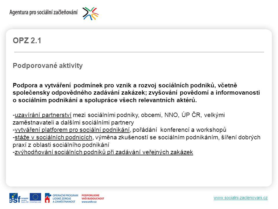 www.socialni-zaclenovani.cz OPZ 2.1 Podporované aktivity Podpora a vytváření podmínek pro vznik a rozvoj sociálních podniků, včetně společensky odpově