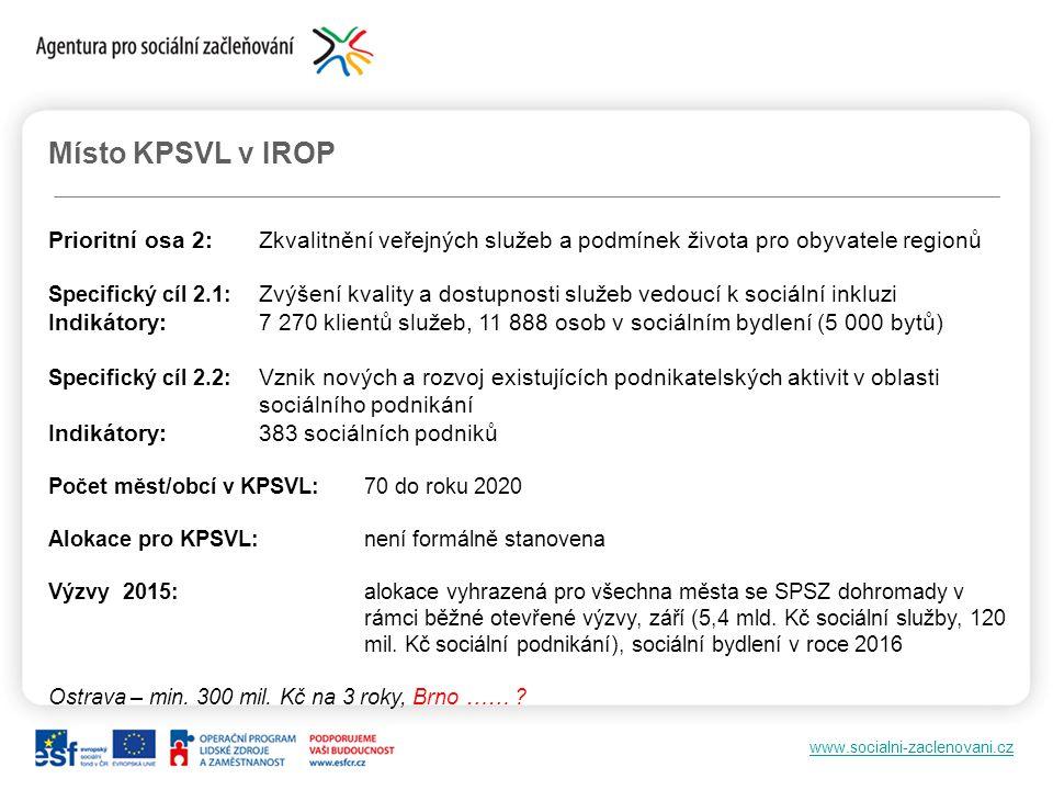 www.socialni-zaclenovani.cz Místo KPSVL v IROP Prioritní osa 2:Zkvalitnění veřejných služeb a podmínek života pro obyvatele regionů Specifický cíl 2.1