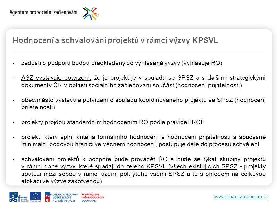 www.socialni-zaclenovani.cz Hodnocení a schvalování projektů v rámci výzvy KPSVL -žádosti o podporu budou předkládány do vyhlášené výzvy (vyhlašuje ŘO