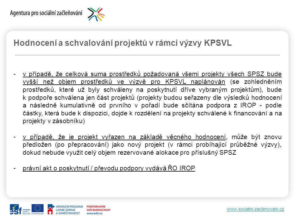 www.socialni-zaclenovani.cz Hodnocení a schvalování projektů v rámci výzvy KPSVL -v případě, že celková suma prostředků požadovaná všemi projekty všec