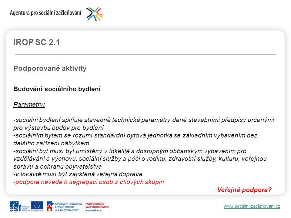 www.socialni-zaclenovani.cz IROP SC 2.1 Podporované aktivity Budování sociálního bydlení Parametry: -sociální bydlení splňuje stavebně technické param