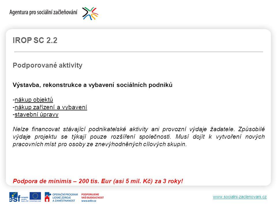 www.socialni-zaclenovani.cz IROP SC 2.2 Podporované aktivity Výstavba, rekonstrukce a vybavení sociálních podniků -nákup objektů -nákup zařízení a vyb