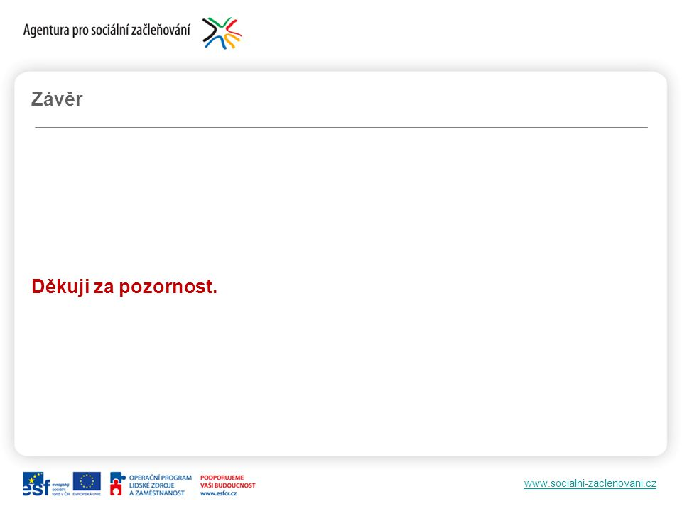 www.socialni-zaclenovani.cz Závěr Děkuji za pozornost.