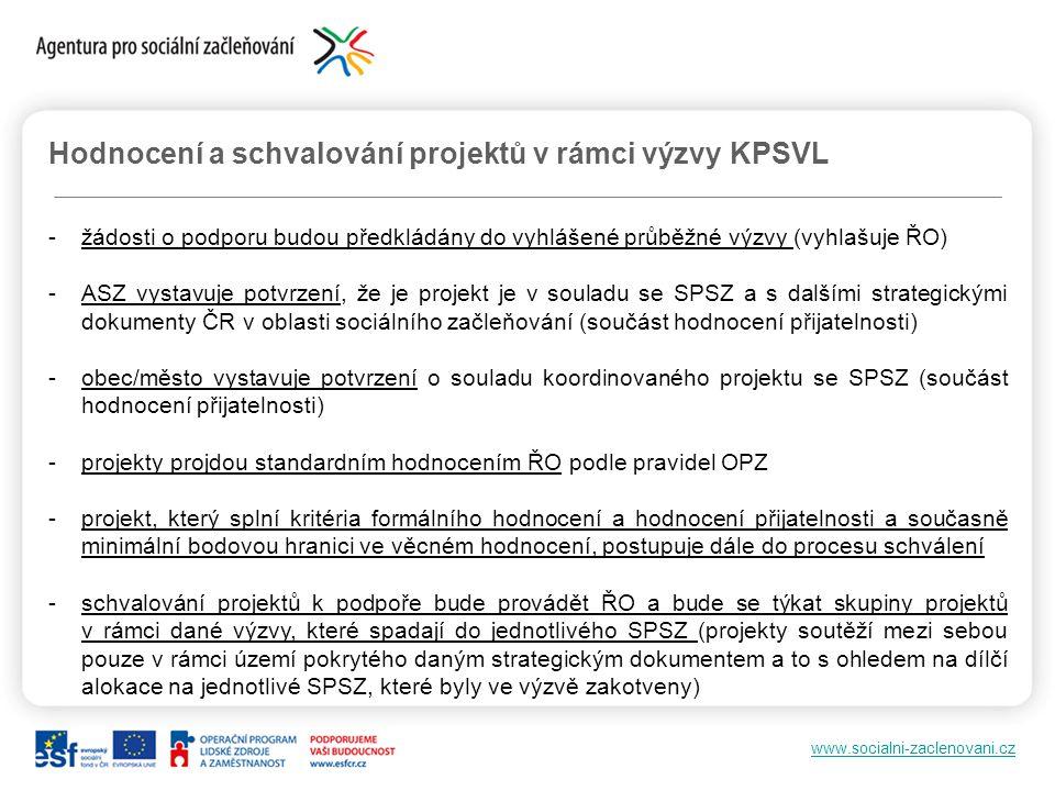 www.socialni-zaclenovani.cz Hodnocení a schvalování projektů v rámci výzvy KPSVL -žádosti o podporu budou předkládány do vyhlášené průběžné výzvy (vyh