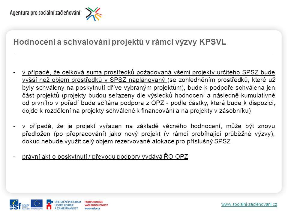 www.socialni-zaclenovani.cz Hodnocení a schvalování projektů v rámci výzvy KPSVL -v případě, že celková suma prostředků požadovaná všemi projekty urči