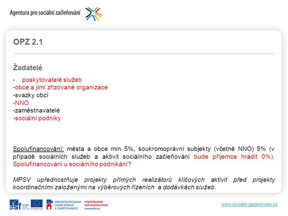 www.socialni-zaclenovani.cz OPZ 2.1 Žadatelé - poskytovatelé služeb -obce a jimi zřizované organizace -svazky obcí -NNO -zaměstnavatelé -sociální podn