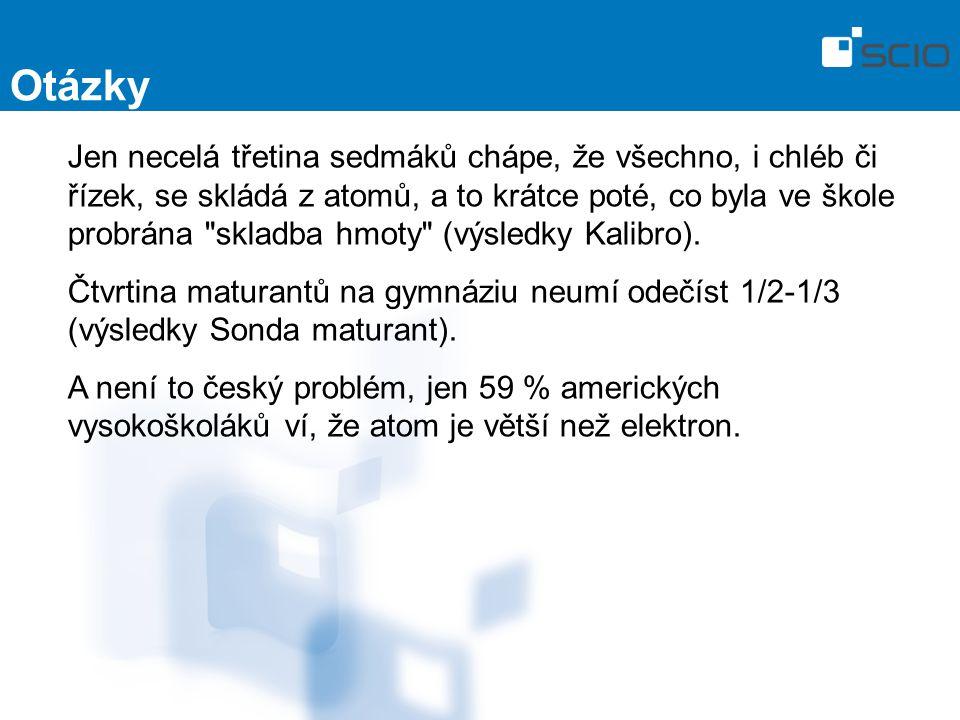 Otázky Jen necelá třetina sedmáků chápe, že všechno, i chléb či řízek, se skládá z atomů, a to krátce poté, co byla ve škole probrána skladba hmoty (výsledky Kalibro).