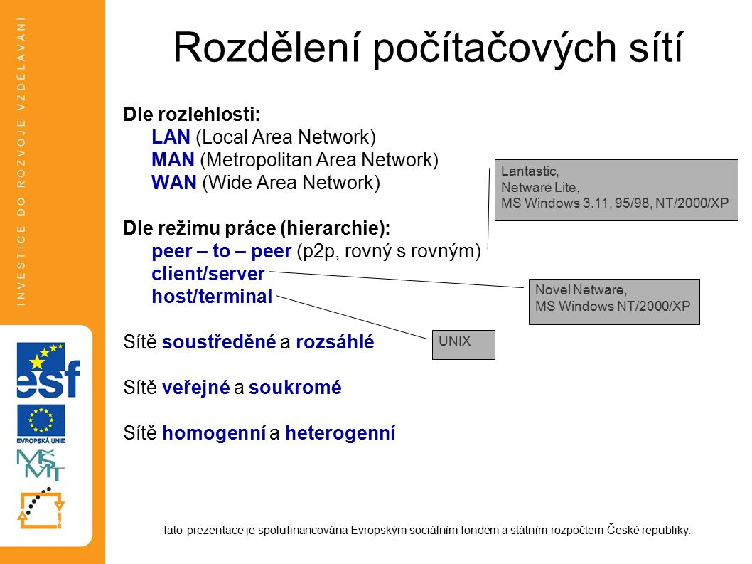Rozdělení počítačových sítí Dle rozlehlosti: LAN (Local Area Network) MAN (Metropolitan Area Network) WAN (Wide Area Network) Dle režimu práce (hierarchie): peer – to – peer (p2p, rovný s rovným) client/server host/terminal Sítě soustředěné a rozsáhlé Sítě veřejné a soukromé Sítě homogenní a heterogenní Tato prezentace je spolufinancována Evropským sociálním fondem a státním rozpočtem České republiky.